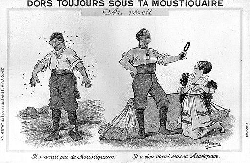Også i 1914 var man klar over fordelene med å sove under myggnetting. Bilde: Wellcome Images. Tilgejengelig under lisens CC BY 4.0.